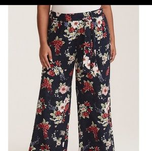 Floral printed challis pant wide leg